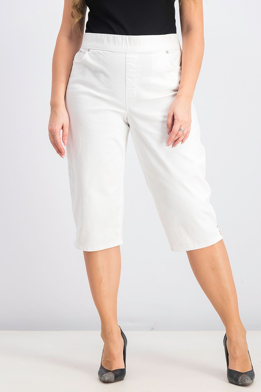 Women's Avery Crystal White Pull Skimmer Pants, White