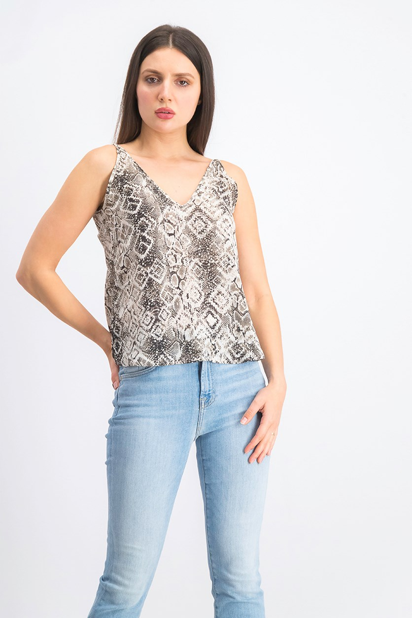 Women's Printed Tops, White Combo