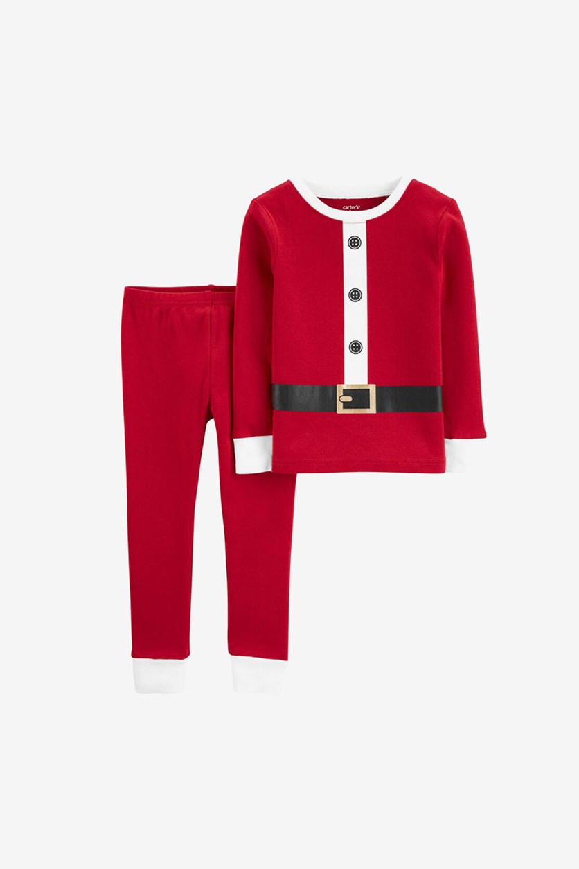 Baby Girl's 2-Piece Santa Suit Snug Fit Cotton Pajama Set, Red