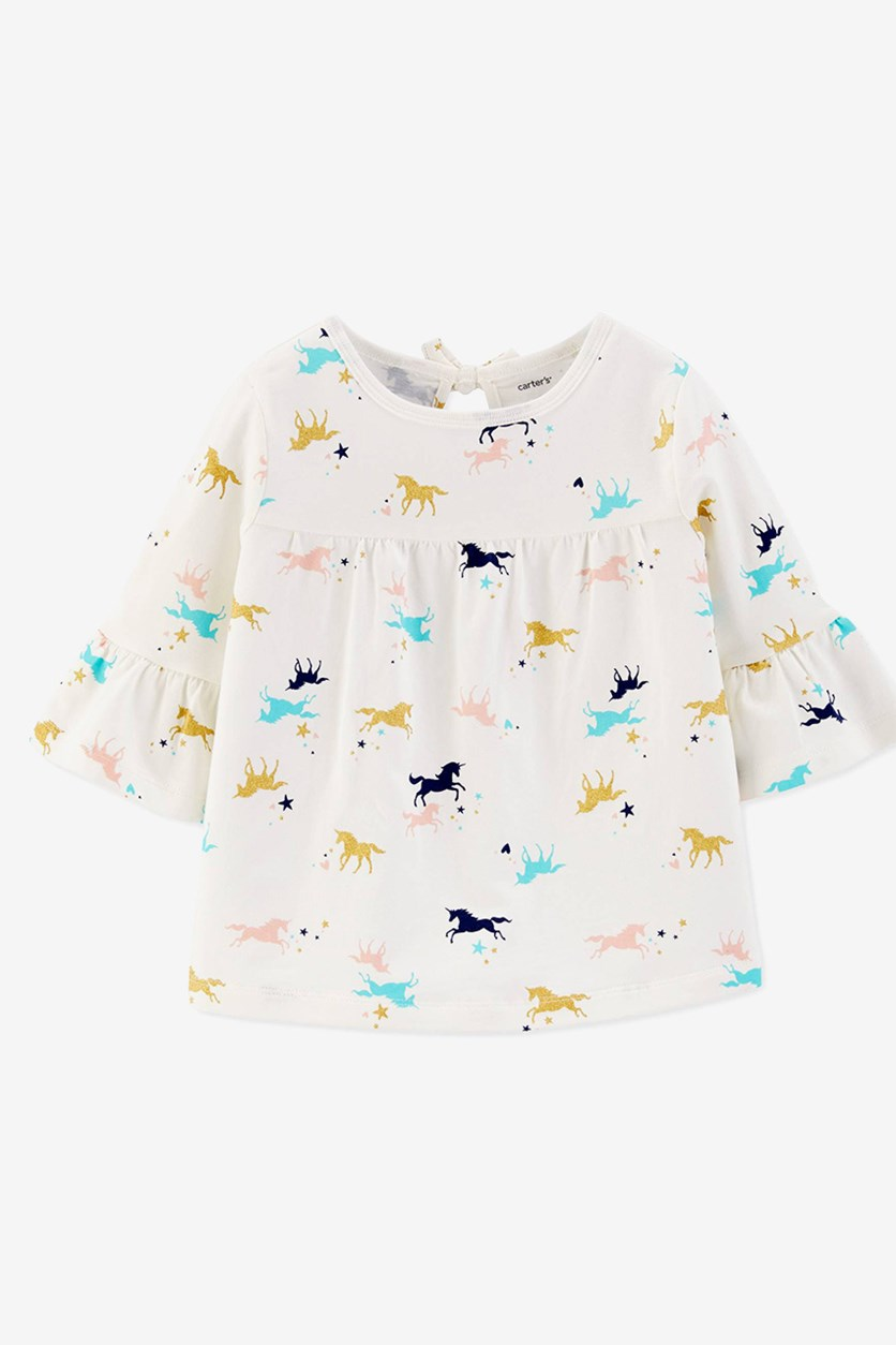 Baby Girls Cotton Unicorn-Print Top, White Combo