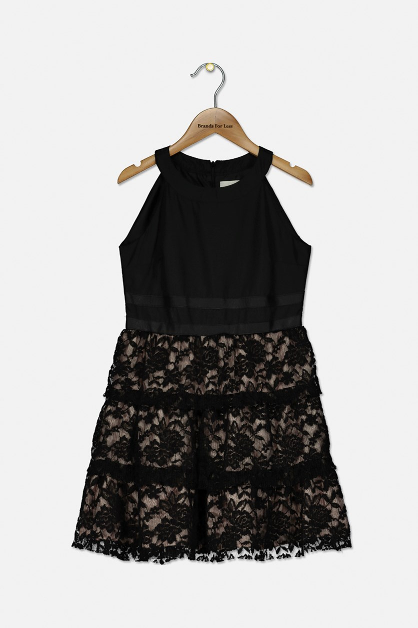 Kids Girls' Tiered Lace Dress with Faux-Leather Trim, Black