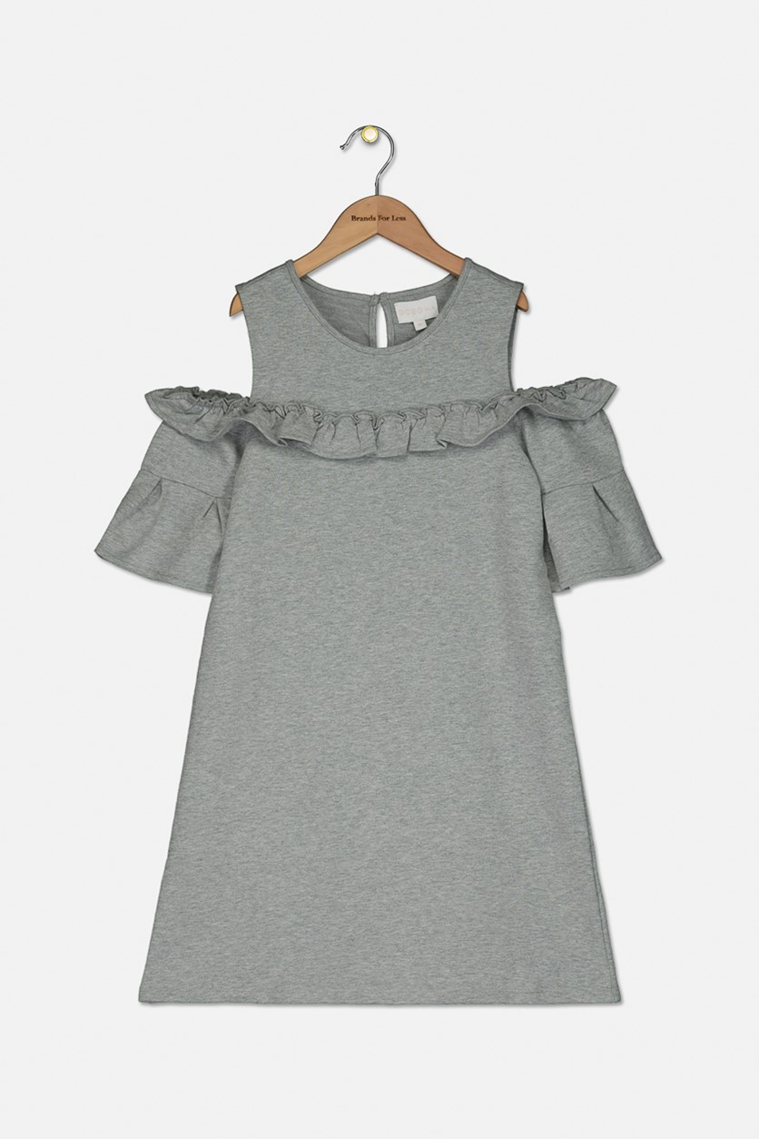 Girls Cold Shoulder Ruffle Dress, Heather Grey