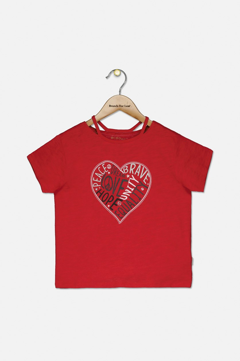 Girls Love Cutout Tee, Red