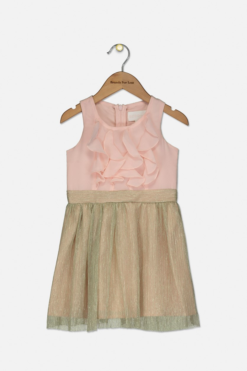 Little Girls Sleeveless Metallic Pleated Dress, Gold/Blush