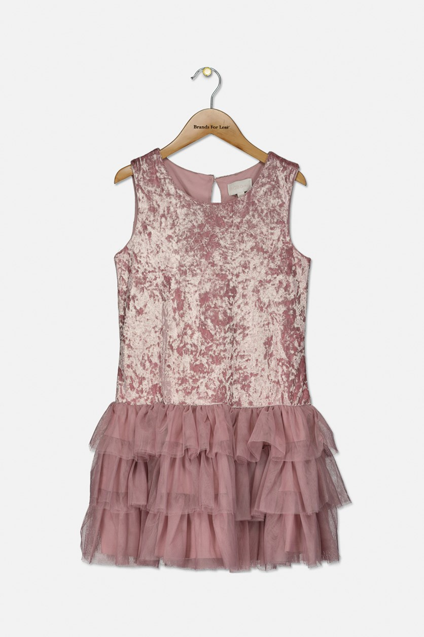 Kids Girls Velvet Dress, Pink