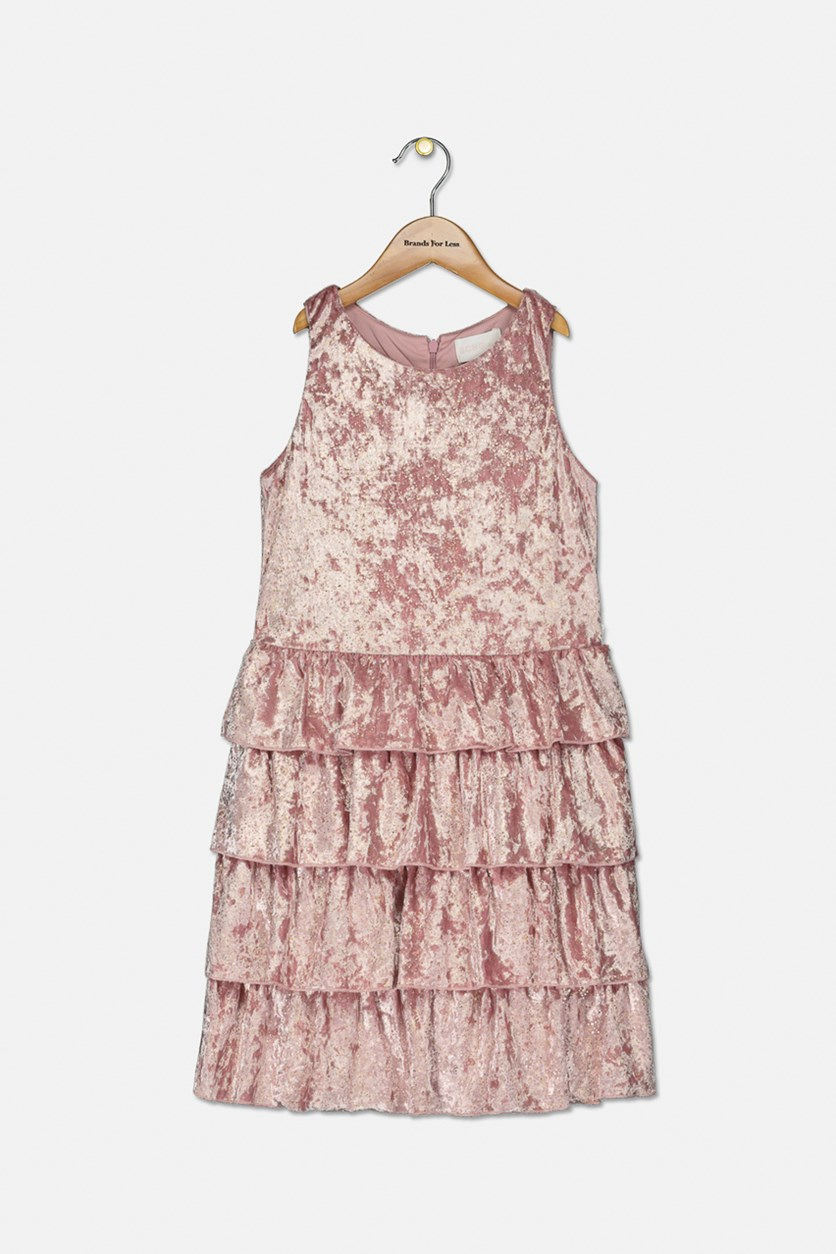 Kids Girls Sleeveless Metallic Velvet Dress, Pink