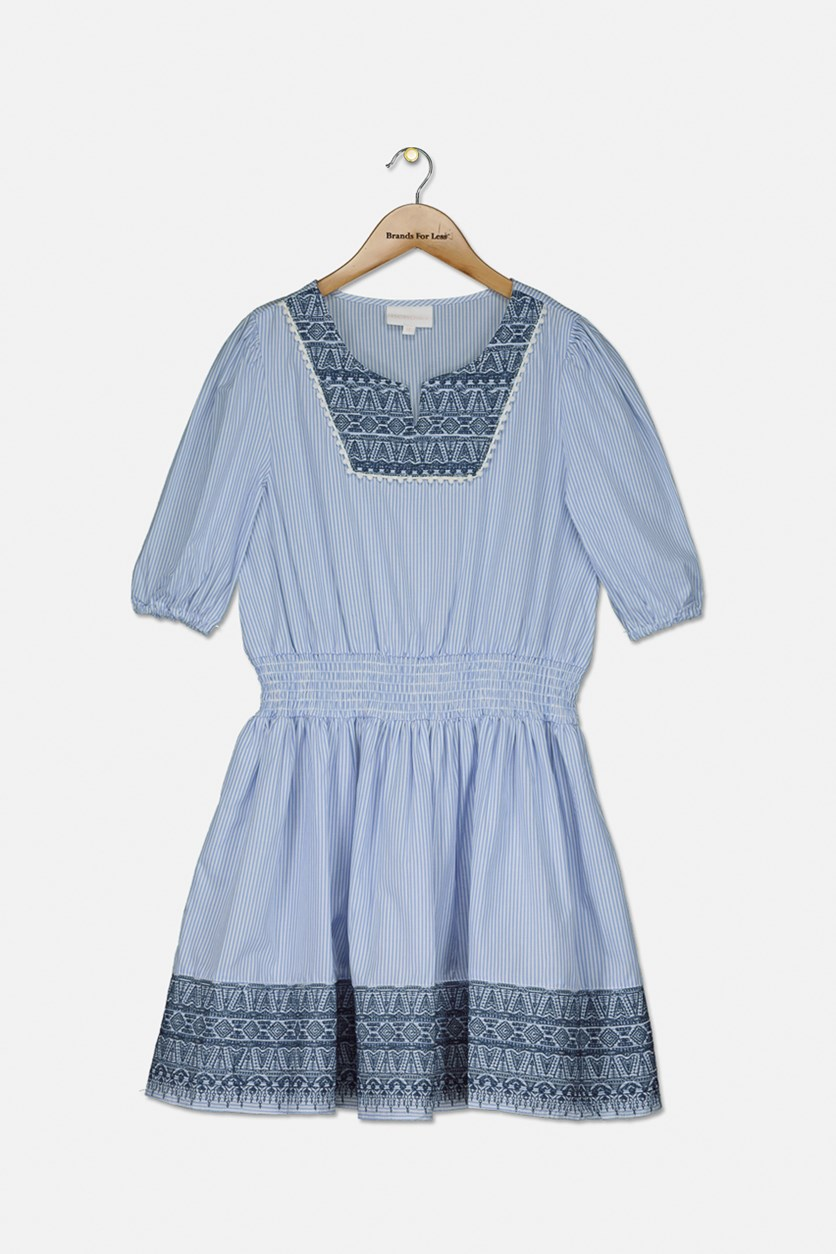 Big Girl's Embroidered & Striped Dress, Chambray