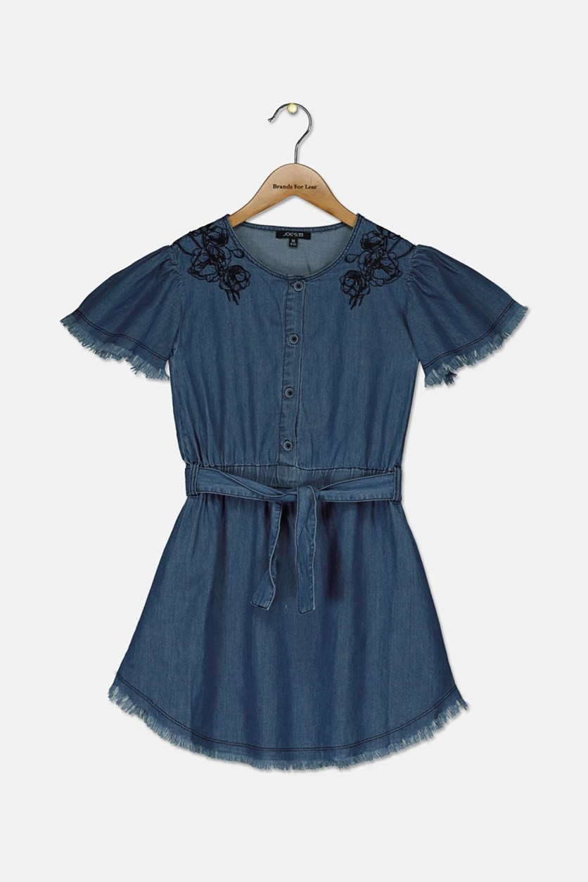 Girl's Embroidered Raw Hem Dress, Medium Indigo
