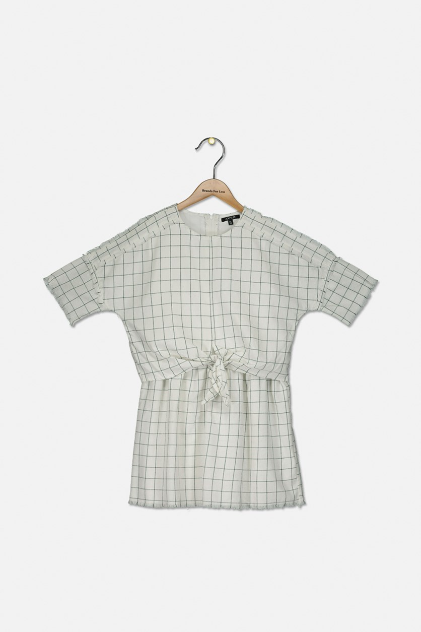 Girls' Tie-Front Checked Dress, Off White