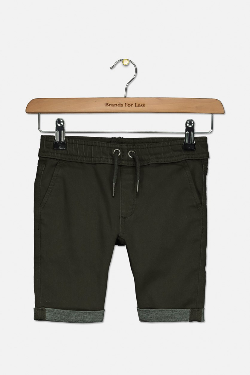 Little Boy's Slim Fit Jogger Short, Olive