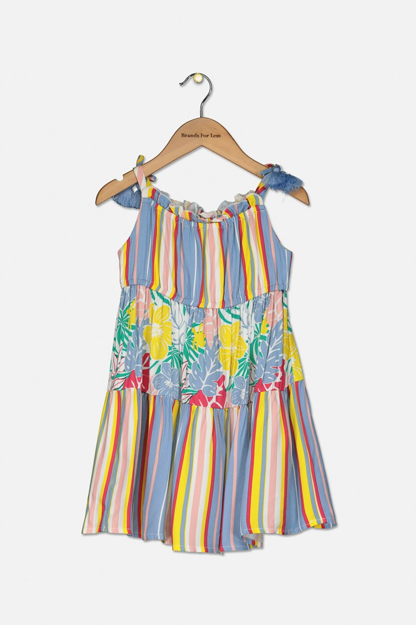 Toddler Girl's Floral Striped Maxi Dress, Blue Combo