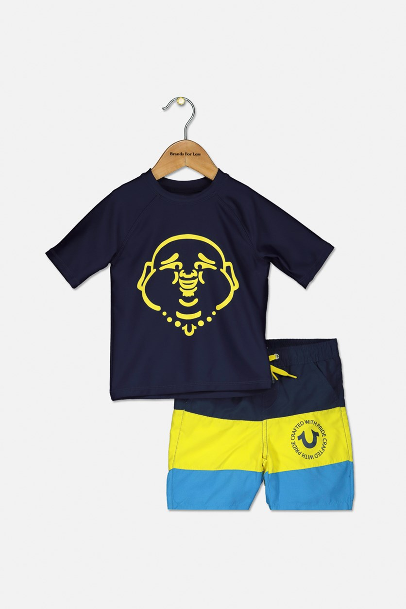 Toddlers Buddha Swimwear Set, Navy/Yellow/Blue