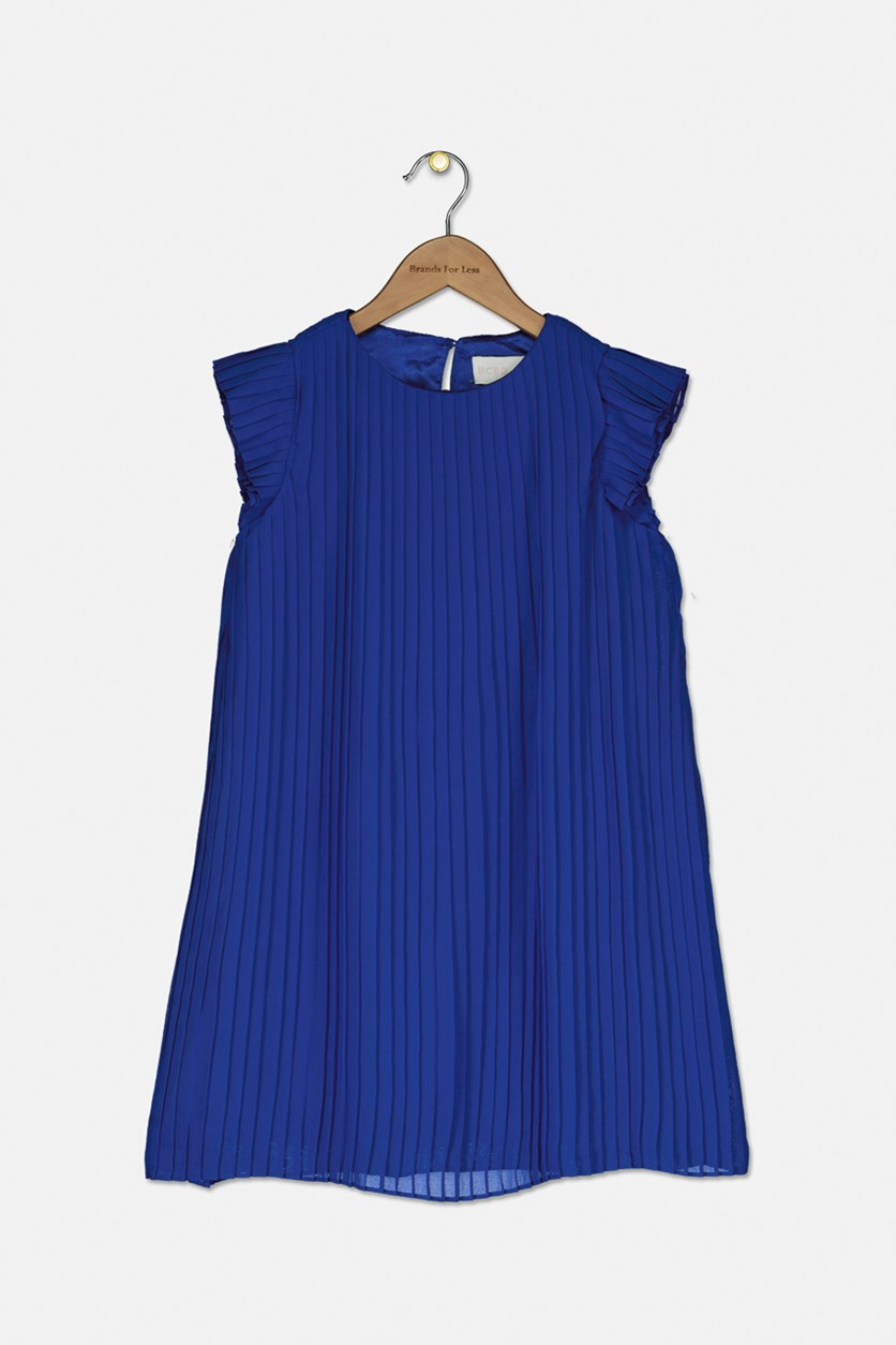 Girl's Pleated Chiffon Dress, Dazzling Blue
