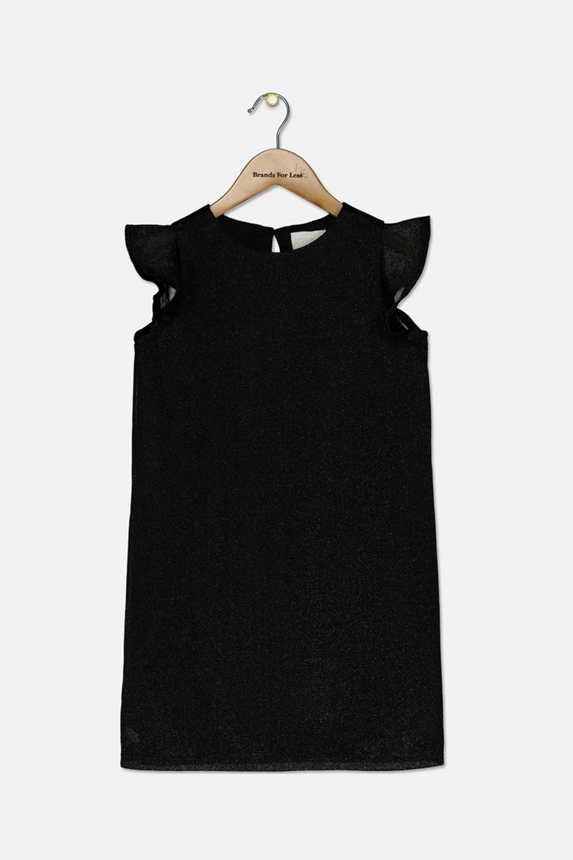 Girl's A-Line Illusion Dress, Black Highlight