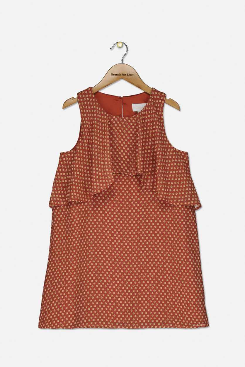 Girl's Chiffon Layered Dot Printed Dress, Brick