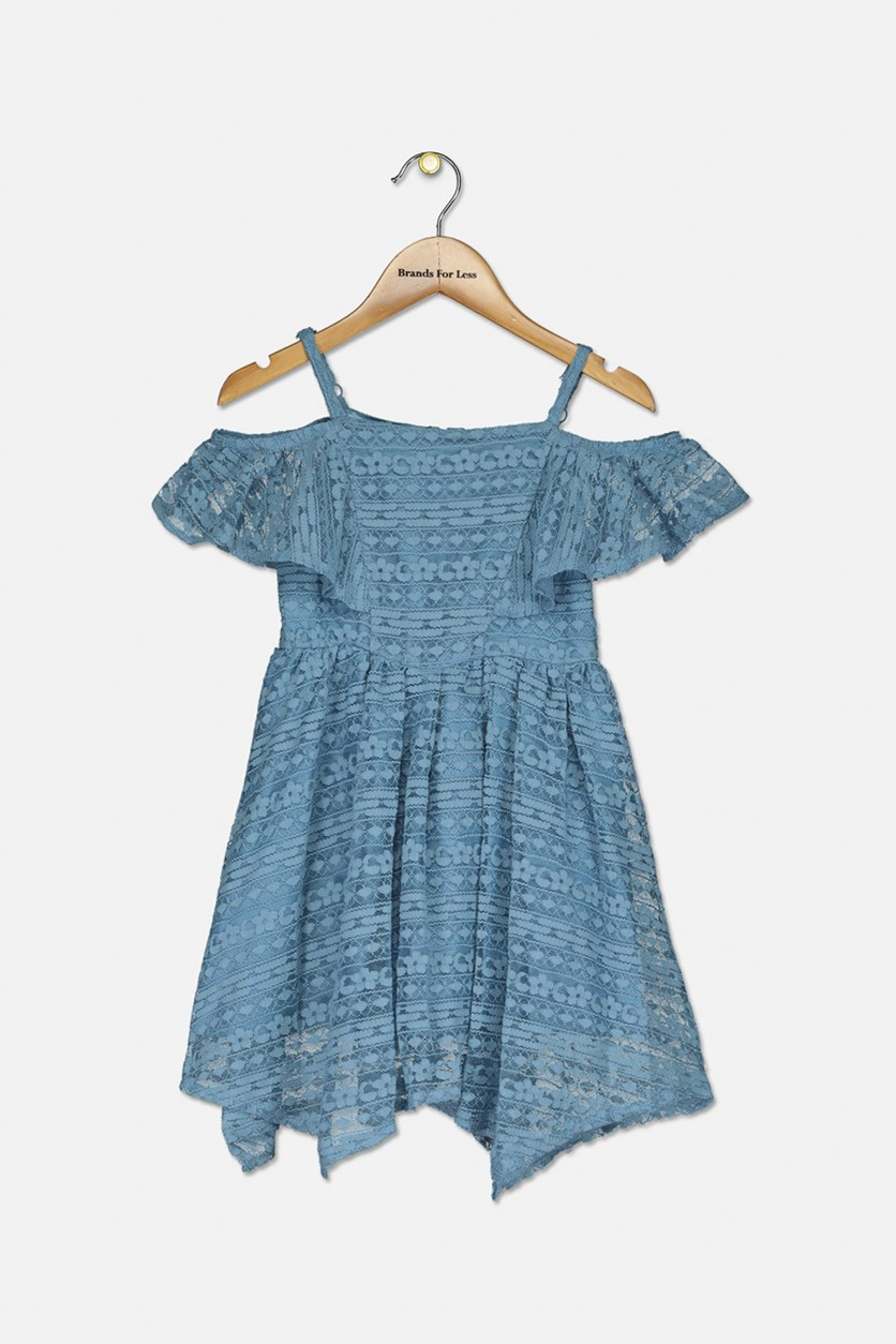 Toddler Girl's Cold-Shoulder Lace Dress, Ash Blue