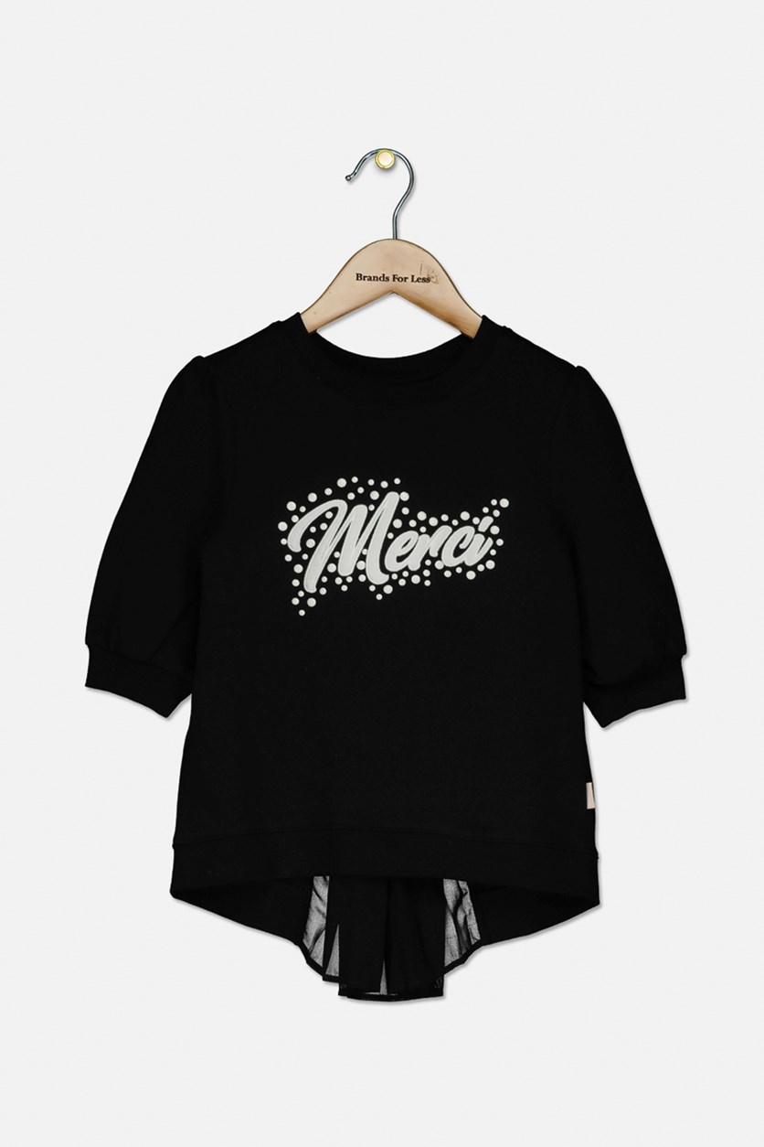Girl's 3/4 Sleeves Embroidered Tops, Black/White