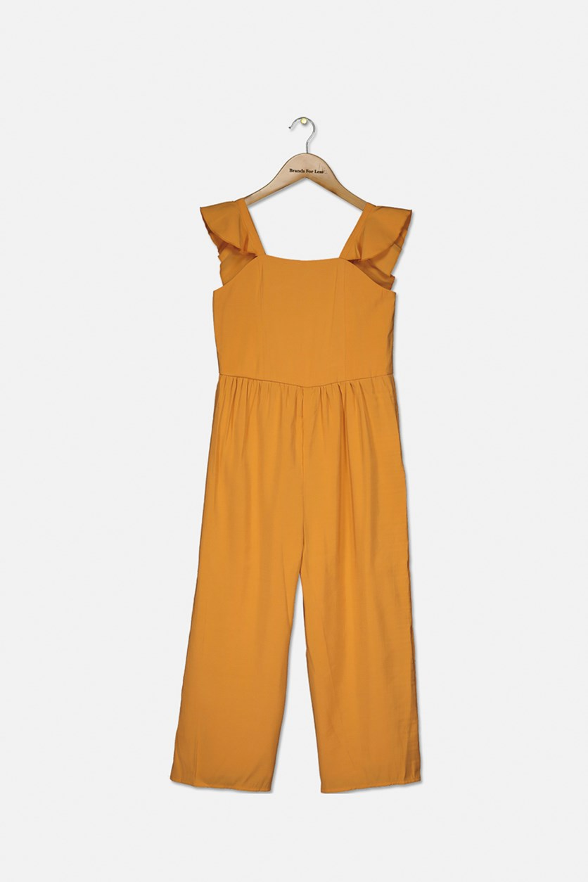 Girl's Sleeveless Jumpsuit, Dandelion Yellow