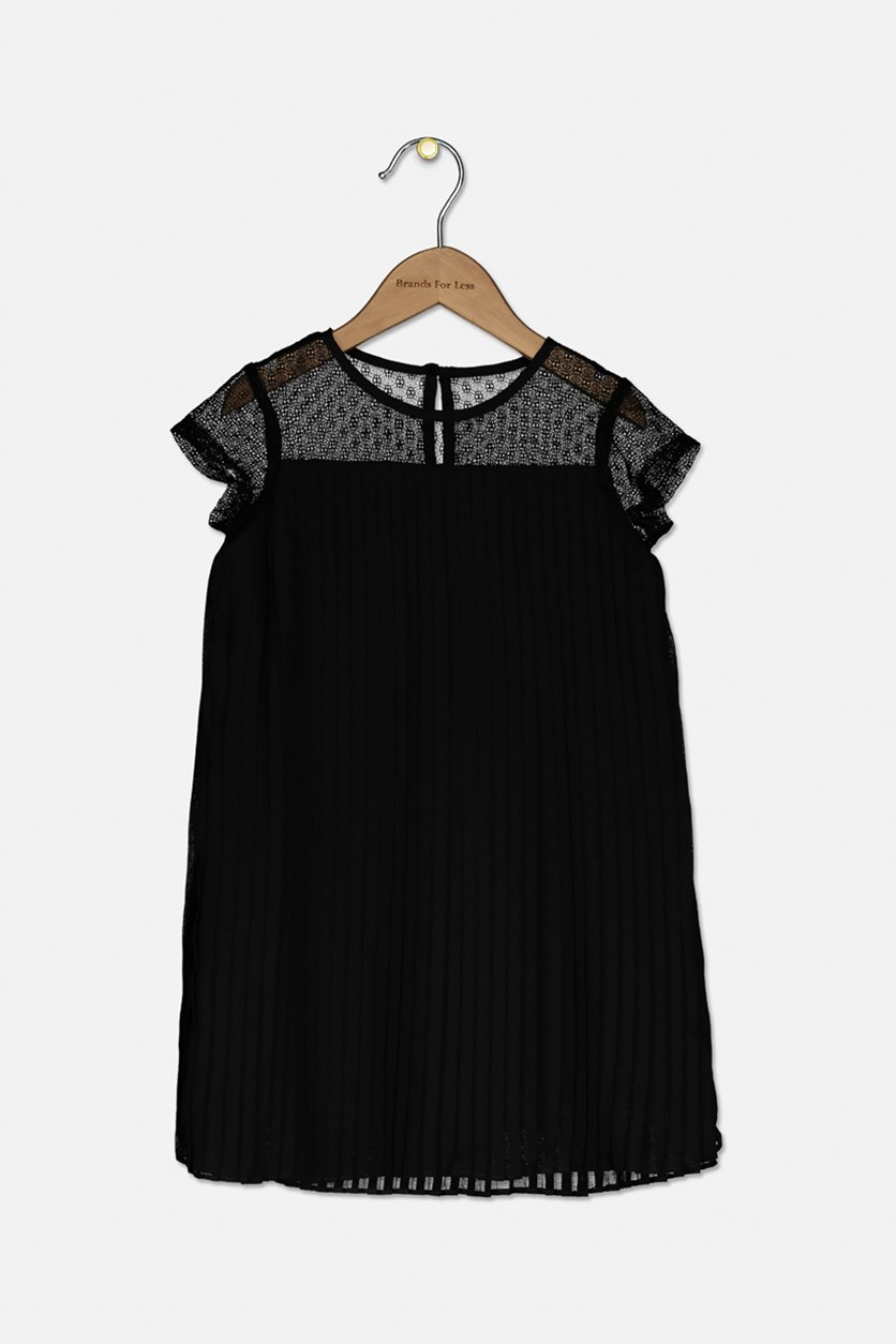 Toddlers Girls' Pleated A-line Dress, Black