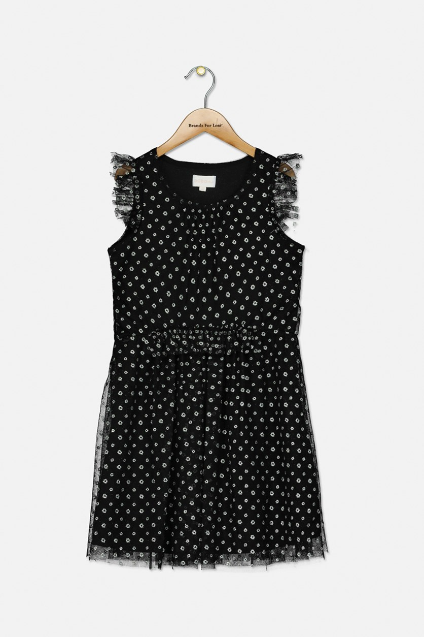 Girls Metallic Printed Mesh Dress, Black/Silver