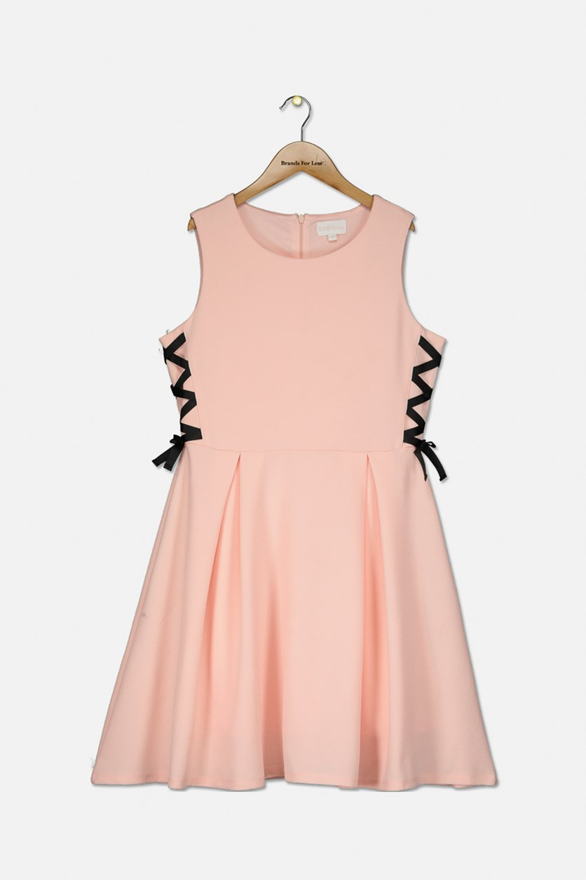 Girl's Lace-Up Fit-and-Flare Dress, Rose Petal