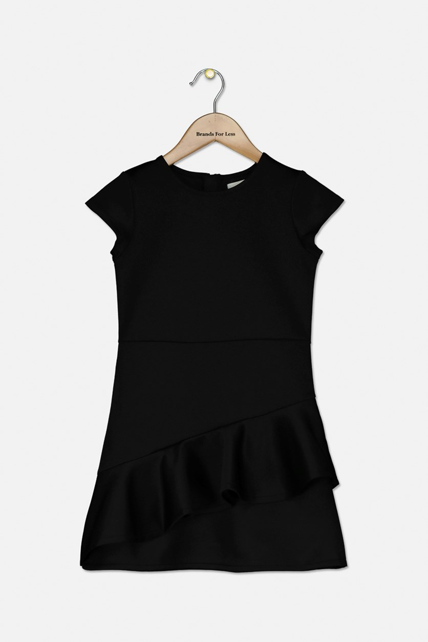 Girl's Scuba Ruffle Dress, Black