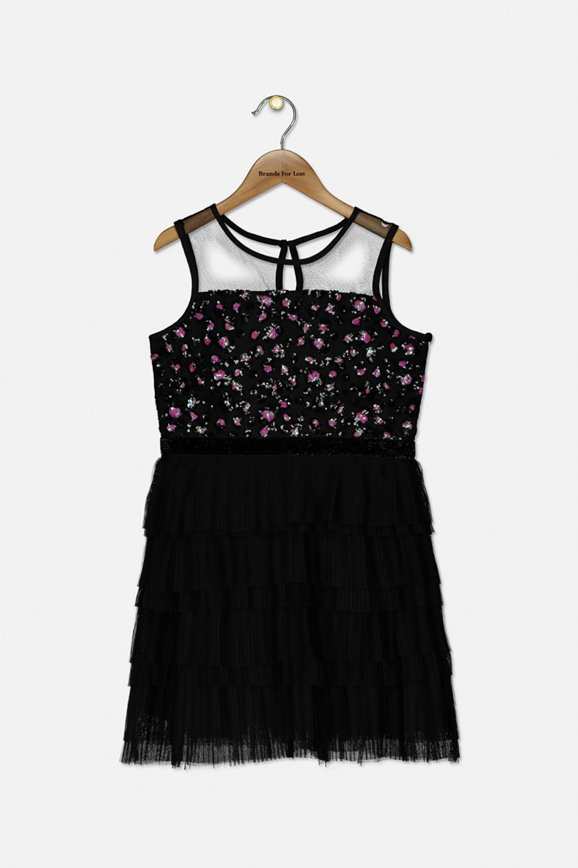 Girl's Sleeveless Textured Sequins Dress, Black/Pink