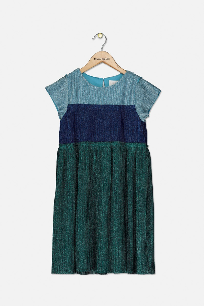 Girl's Color Blocked Pleated Metallic Knit Dress, Moroccan Blue