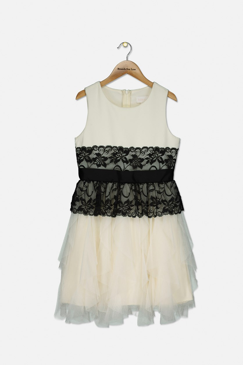 Girls Shantung Bodice Dress, Winter White/Black