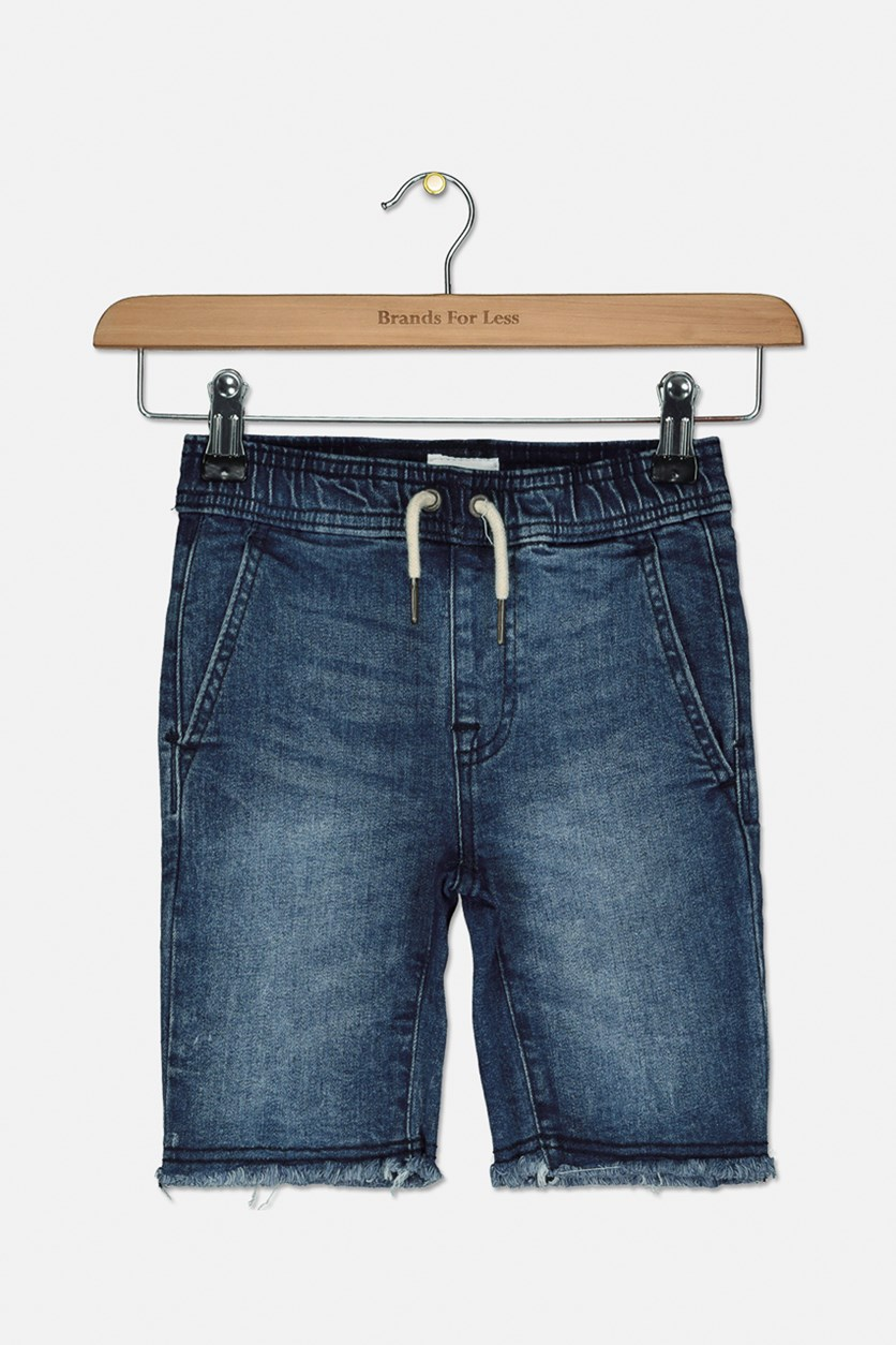 Boy's Drawstring Pull On Soft Denim Short,  Dry Blue Wash
