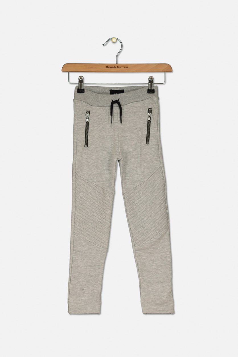 Little Boys French Terry Moto Joggers, Heather Gray