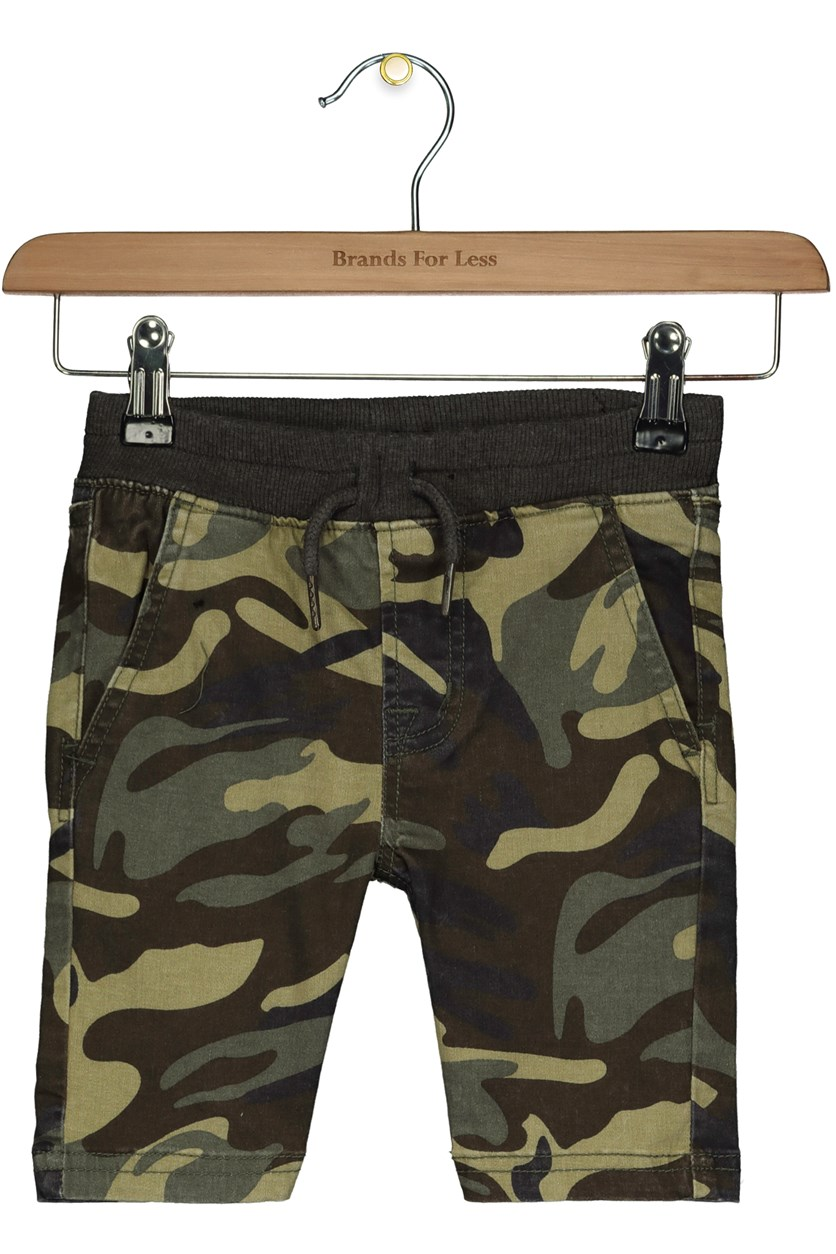Toddlers Boy's Camouflage Pull On Shorts, Green Combo