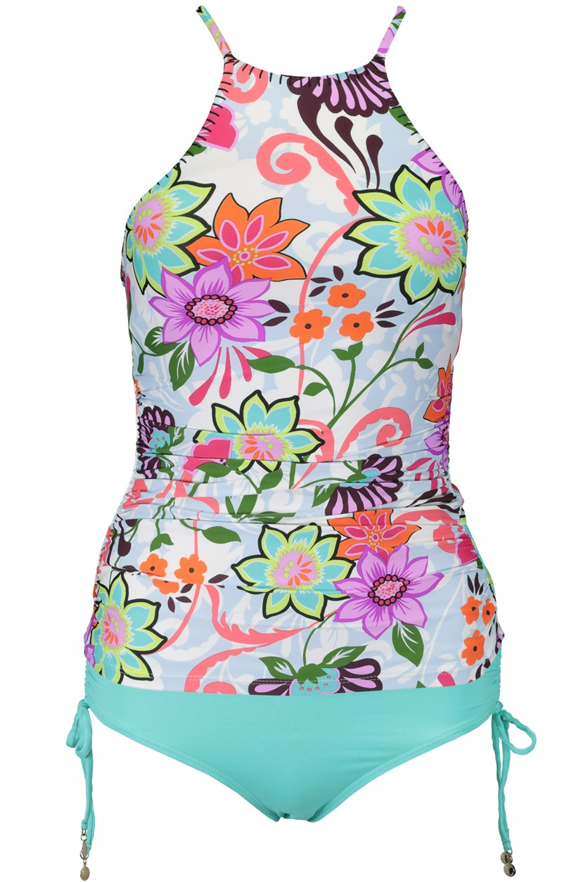 Fleetwood Floral-Print High-Neck Tankini Set, Turquoise Combo