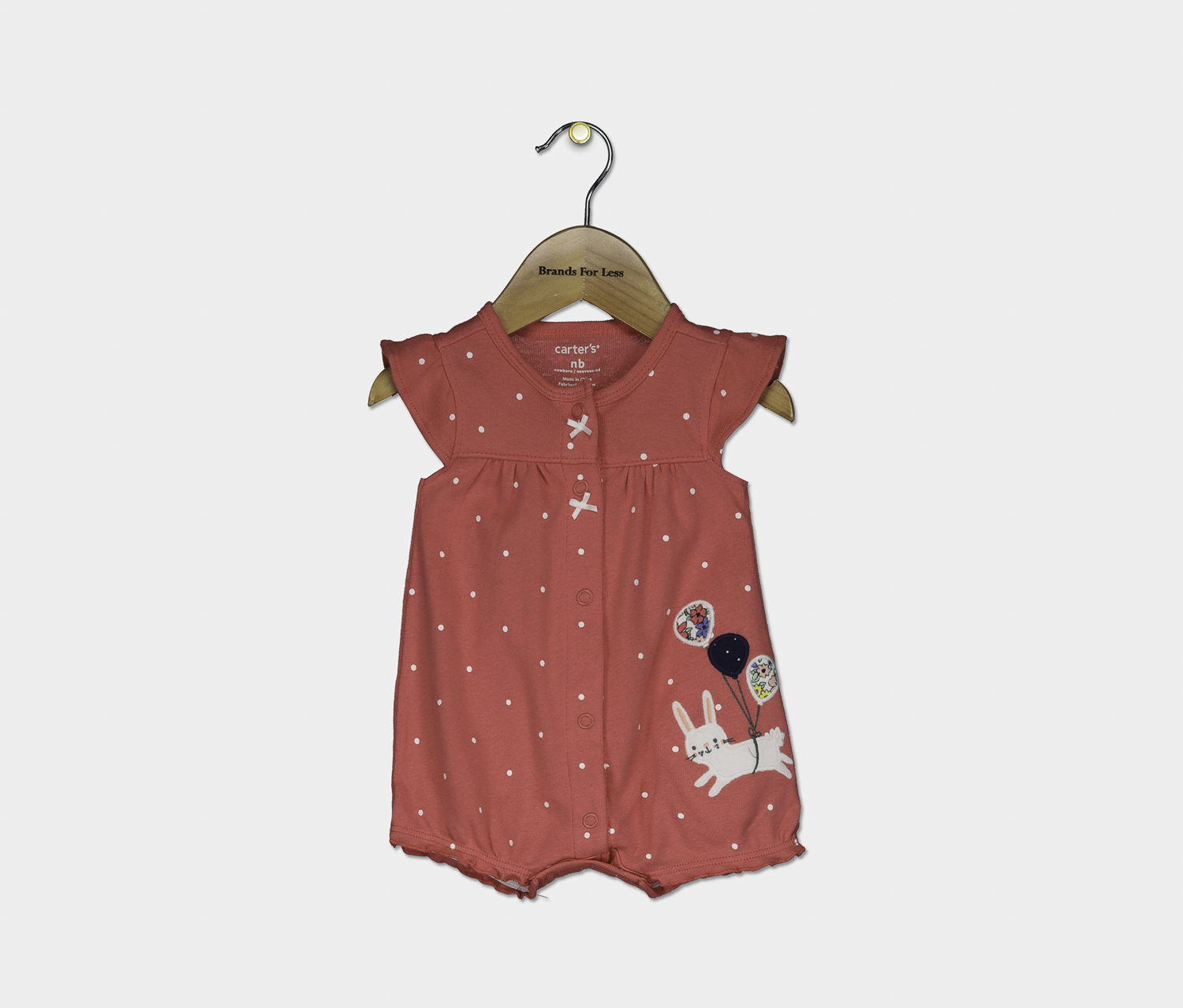 Toddler Girl's Cotton Bunny Romper, Red Combo