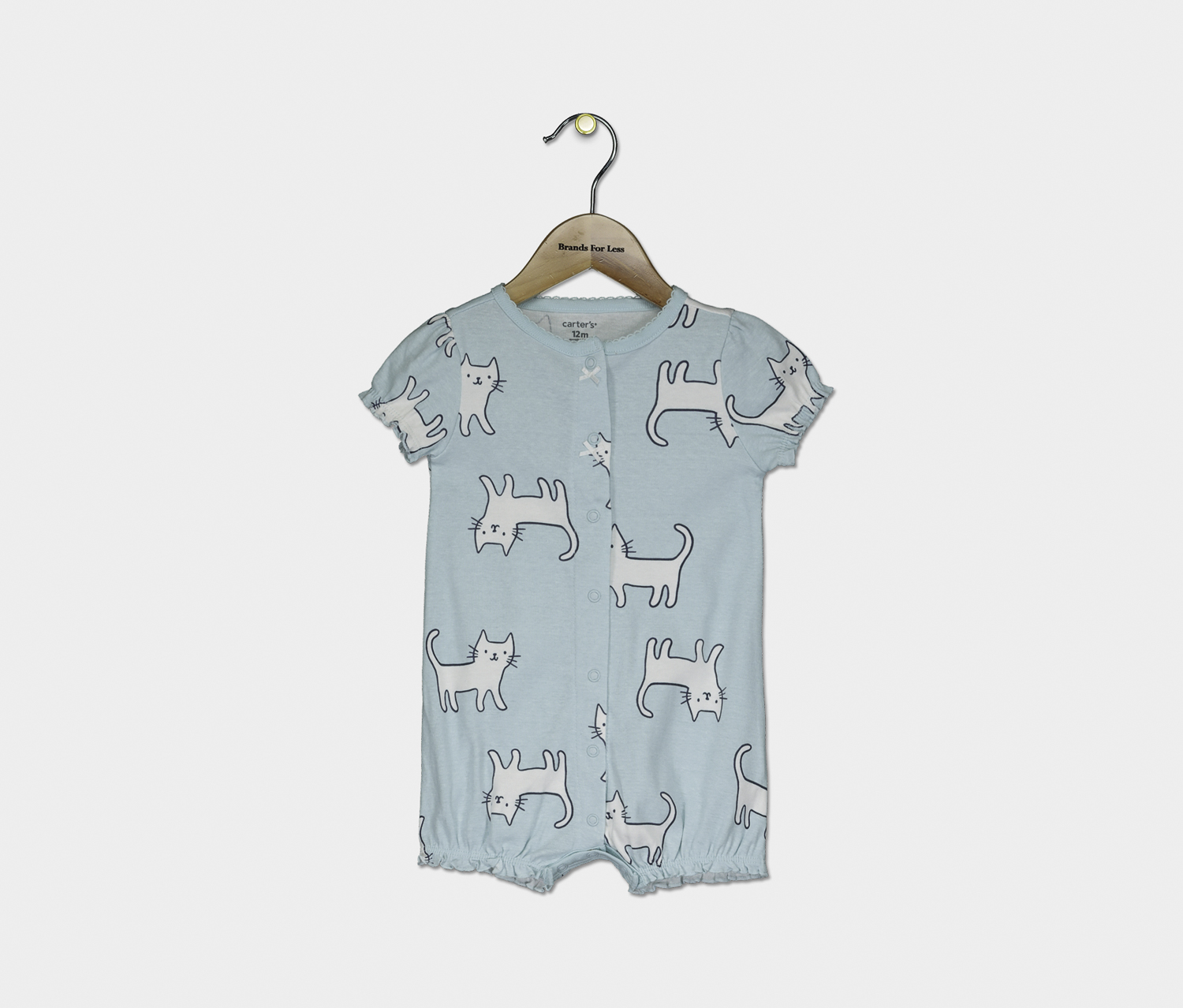 Baby Girl's Printed Cats Bosysuits, Turquoise
