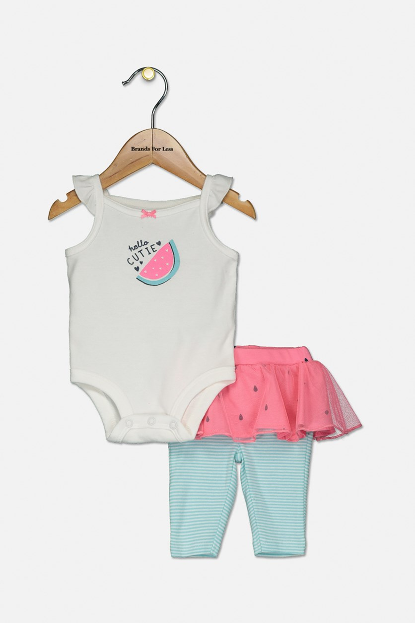 Toddler Girls Watermelon Graphic Bodysuit & Tutu Pants, White/Pink/Mint Green