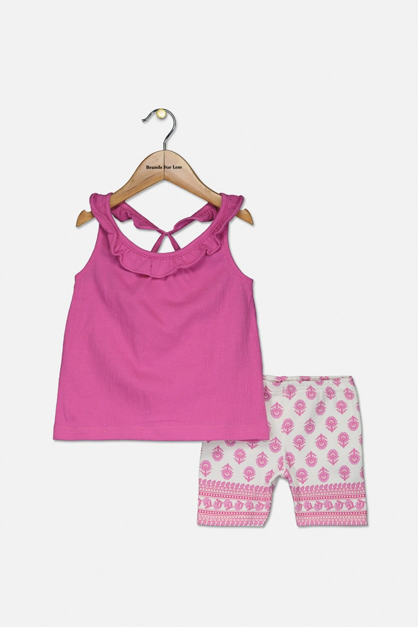 Baby Girls 2-Pc. Ruffled Top & Printed Shorts Set, Pink