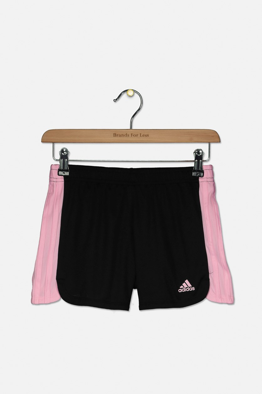 Big Girl's Stripe Color Blocked Short, Pink/Black