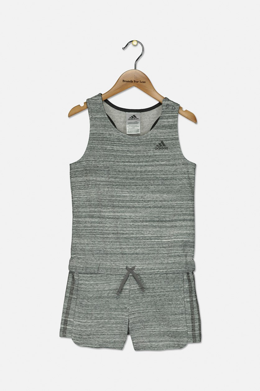 Big Girls Transition Romper, Grey Heather