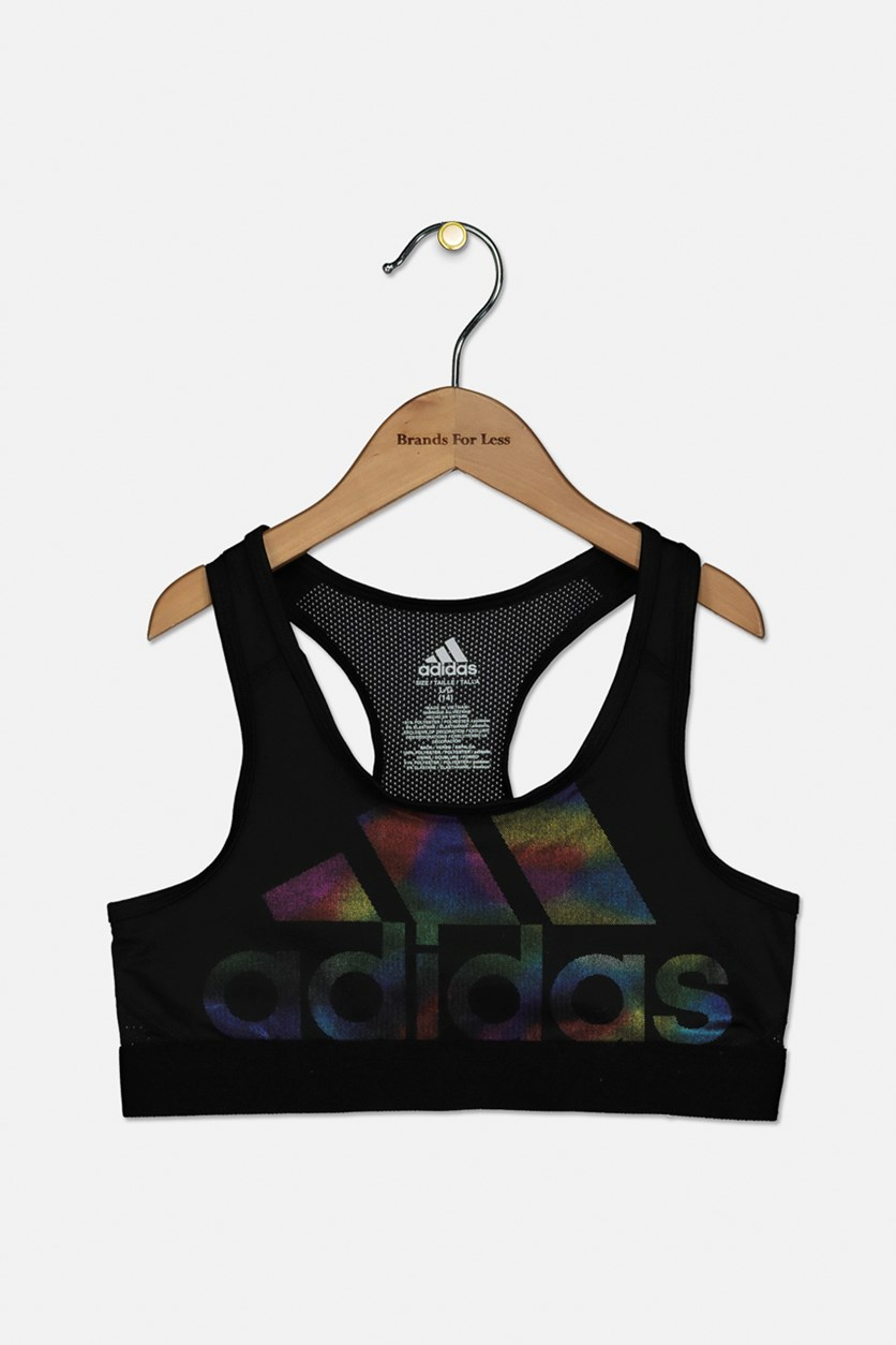 Girls Climacool Logo Sports Bra, Black