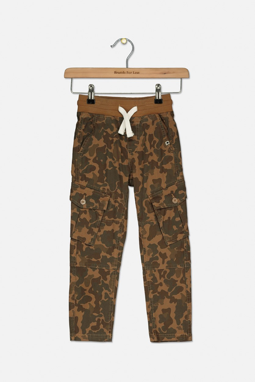Kids Boys Camouflage Cargo Trousers Pants, Tannin