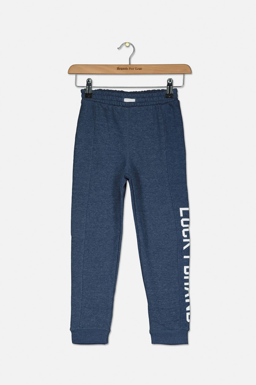 Kids Boy's Cotton Jogger Pants, Indigo Heather