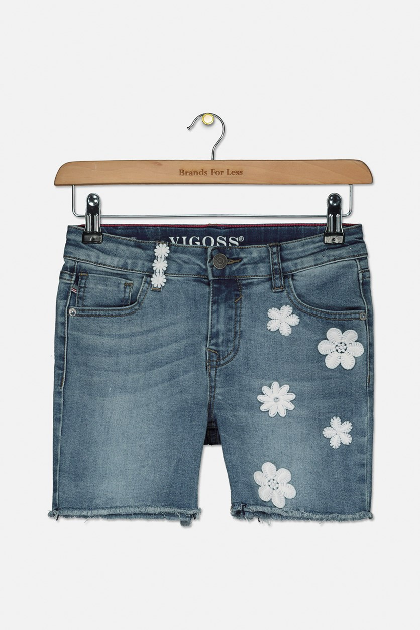 Girls Flower Pattern Denim Short, Blue Book