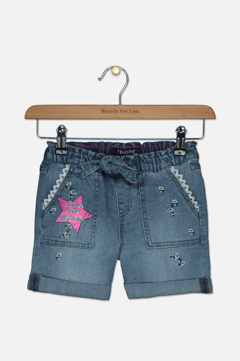 Girl's Spring Has Sprung Pull-On Denim Shorts, Galeon