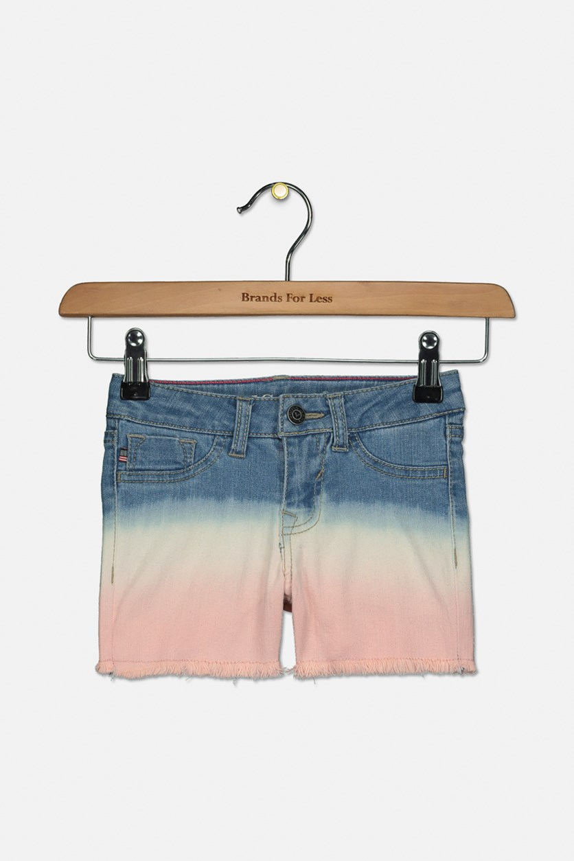 Little Girls Ombre Tie Dye Frayed Hem Denim Shorts, Pink