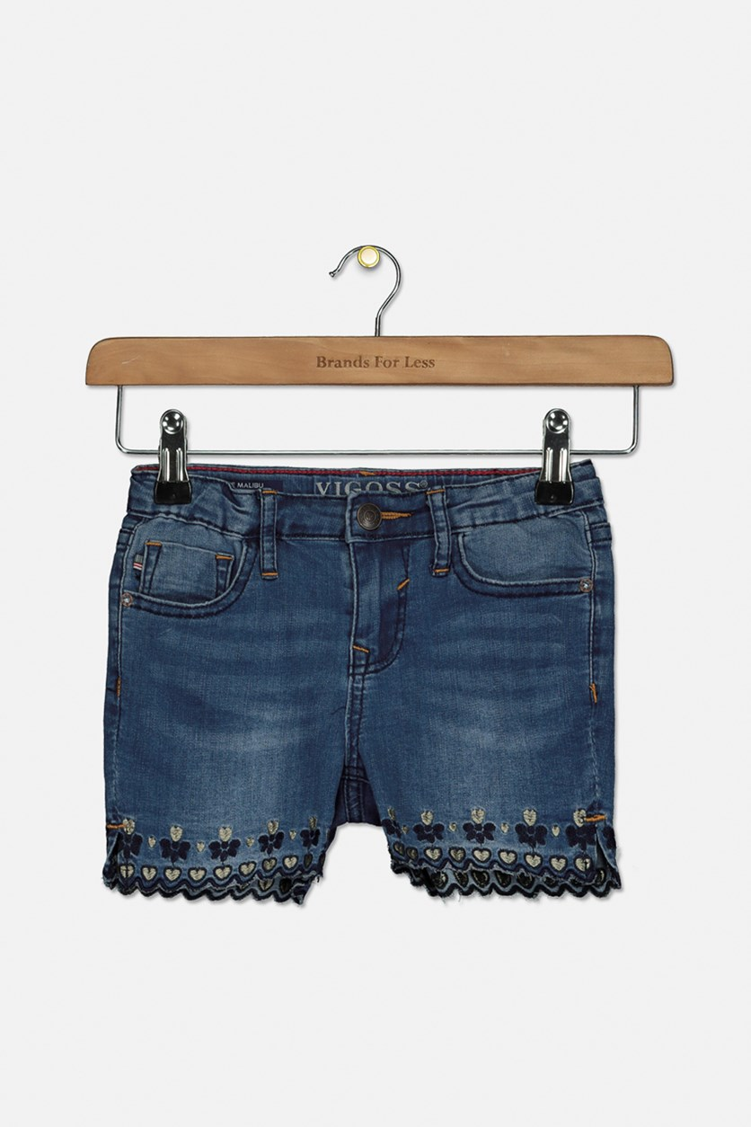 Girl's Scallop-Hem Midi Denim Shorts, Northern Light