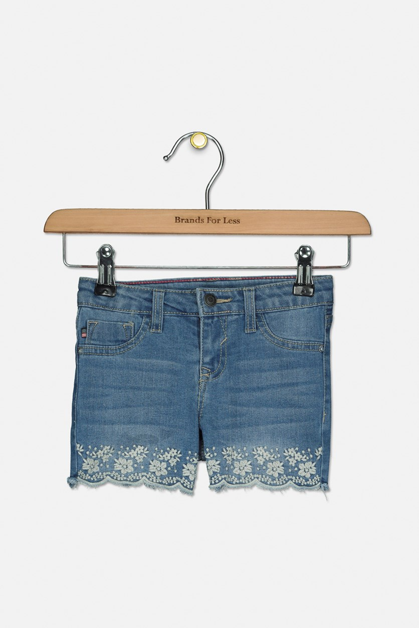 Girl's Flower Scallop Hem Denim Shorts, Faded Wave
