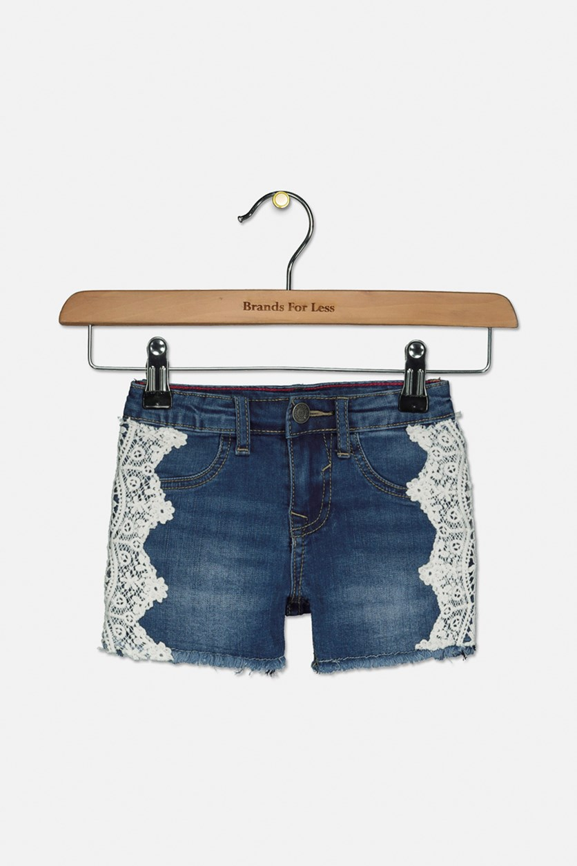 Toddler Girl's Crochet Everyday Denim Shorts, City Blue