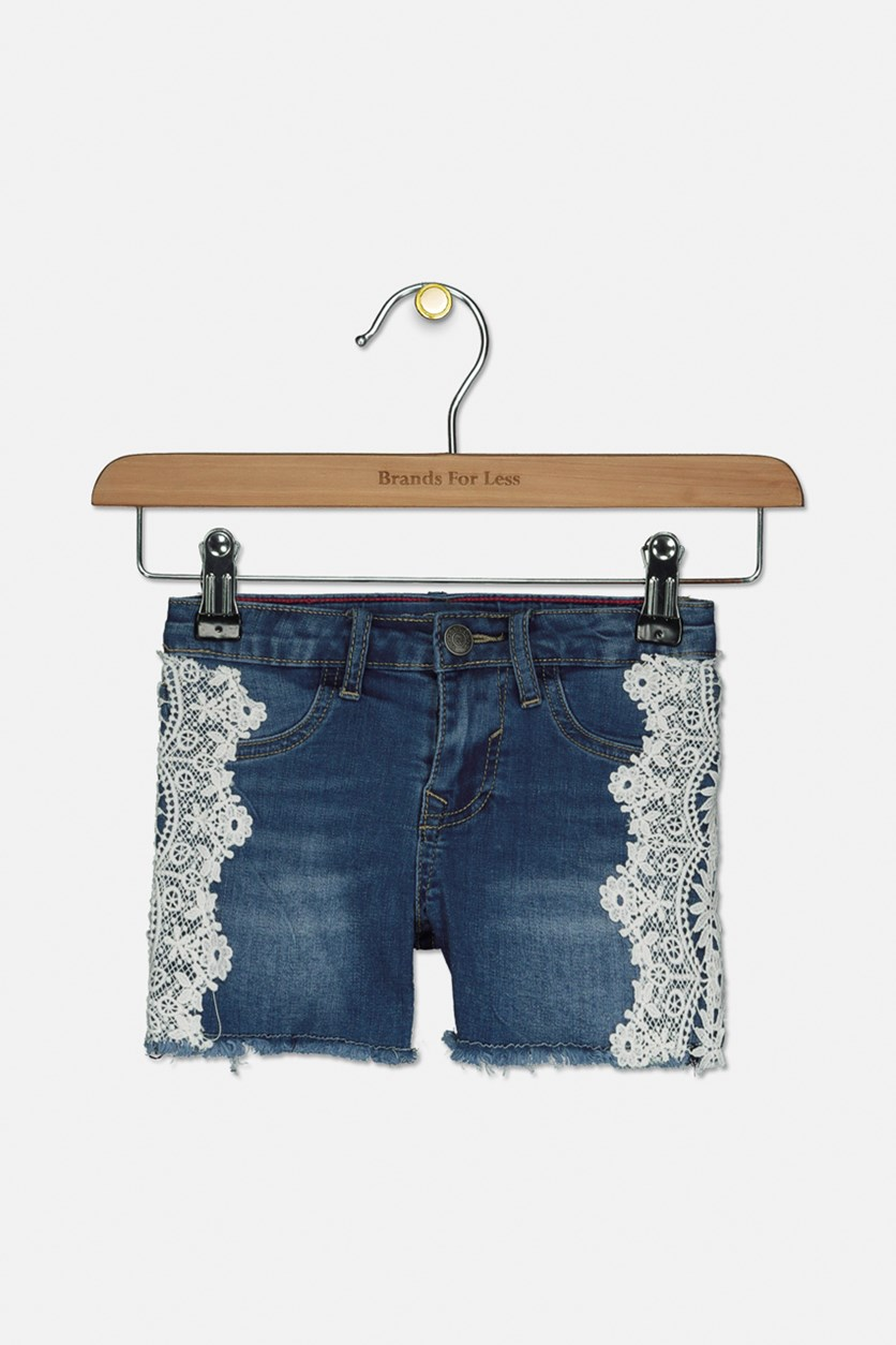 Girl's Crochet Everyday Denim Shorts, City Blue