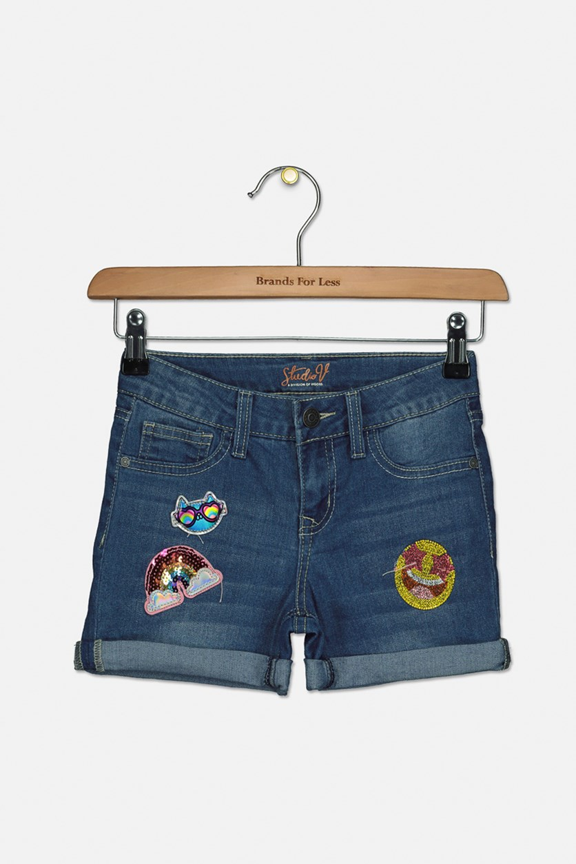 Kids Girls Denim Short, Blue